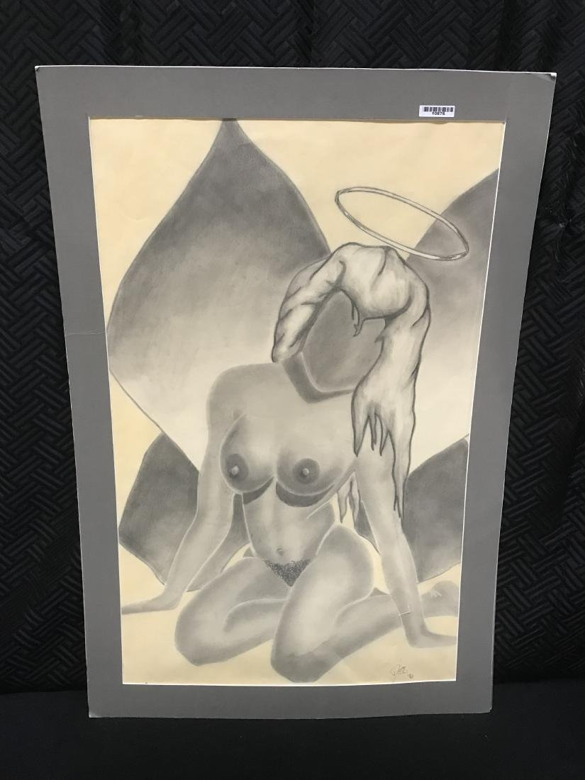 Drew Davis Study of Nude Woman with Leaves and Halo