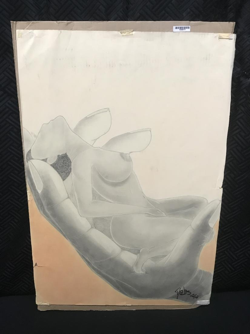 Drew Davis Pencil Study of Nude Woman being Held in a