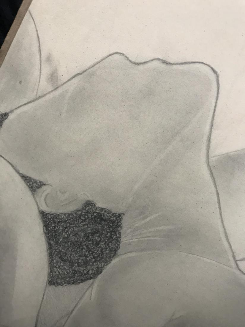 Drew Davis Pencil Study of Nude Woman being Held in a - 2