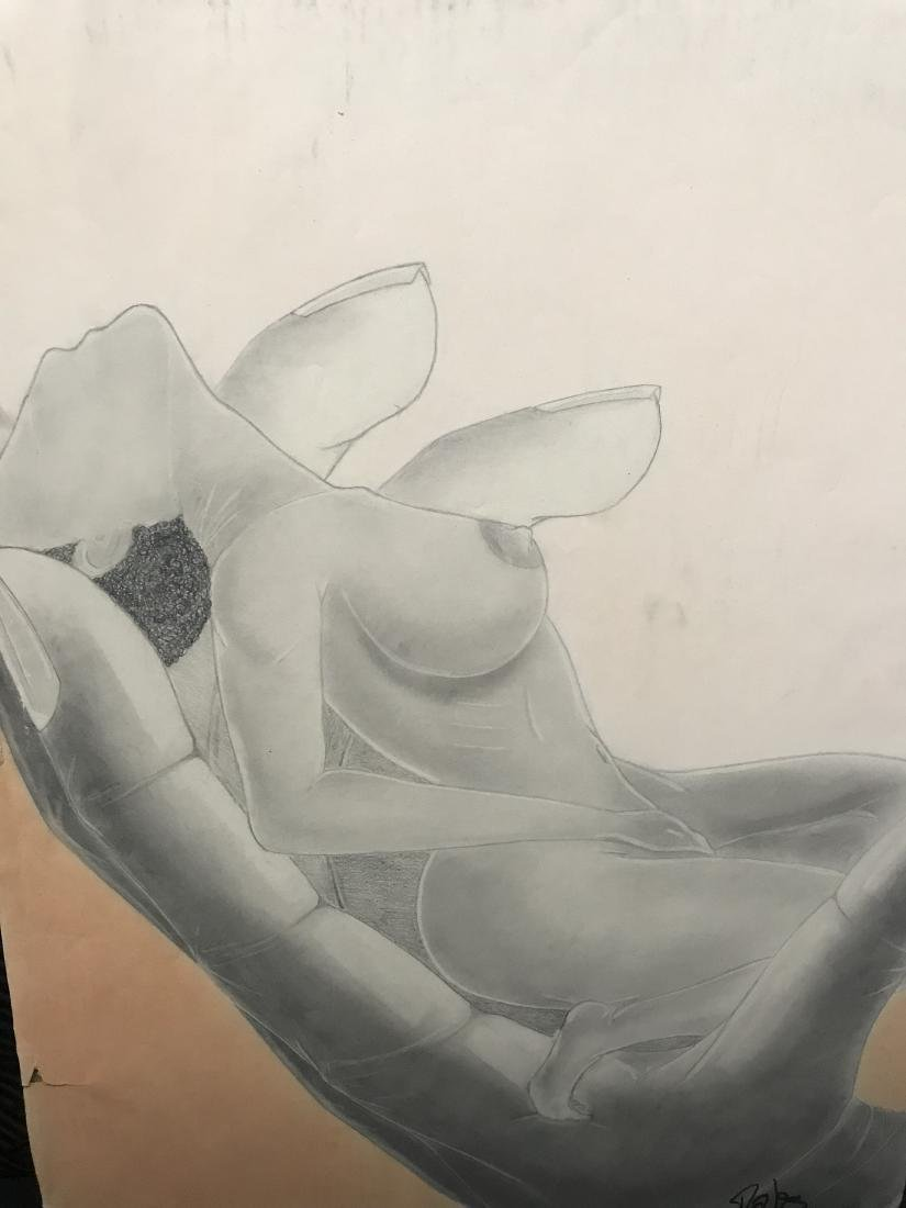 Drew Davis Pencil Study of Nude Woman being Held in a - 7