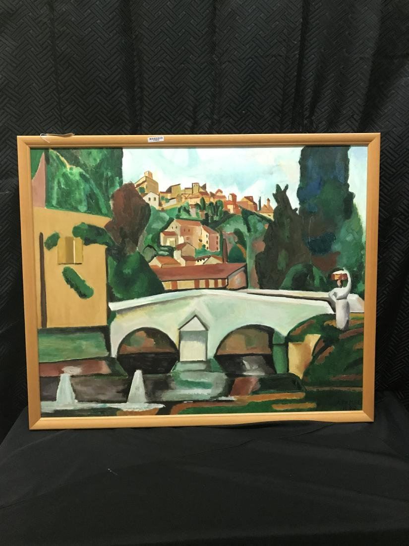 Framed Oil Painting. European City with Woman Carrying