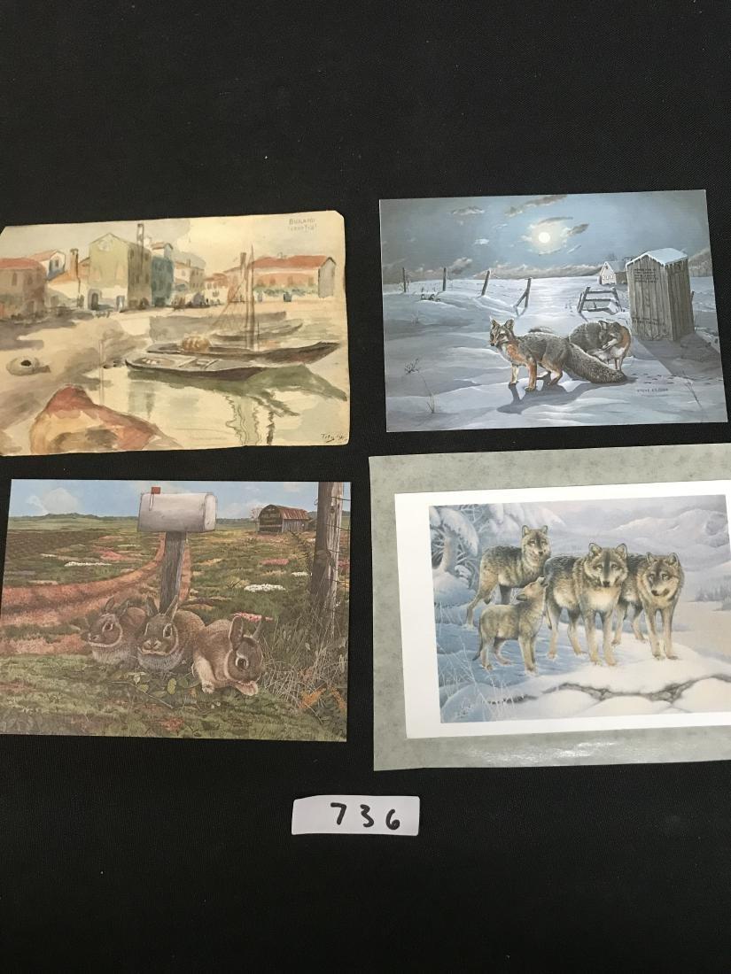 Lot Postcards Dogs Animals Art
