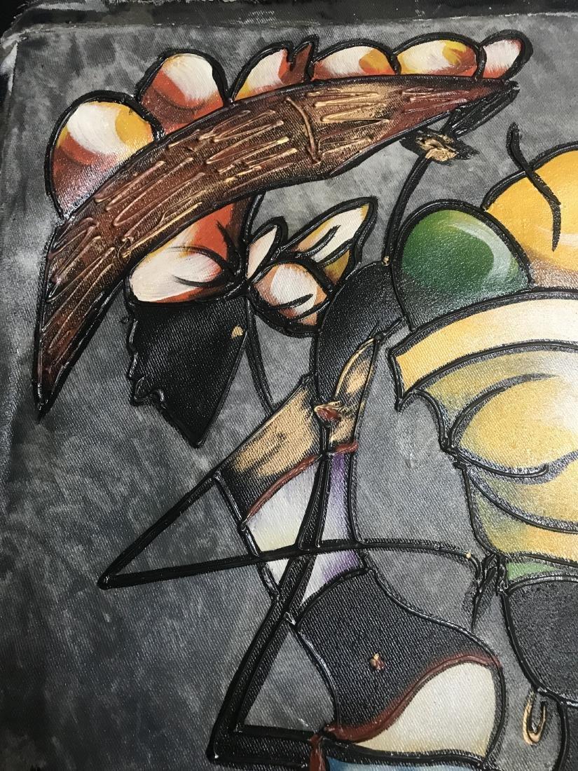 Original Art Signed 2 Women with Baskets - 9