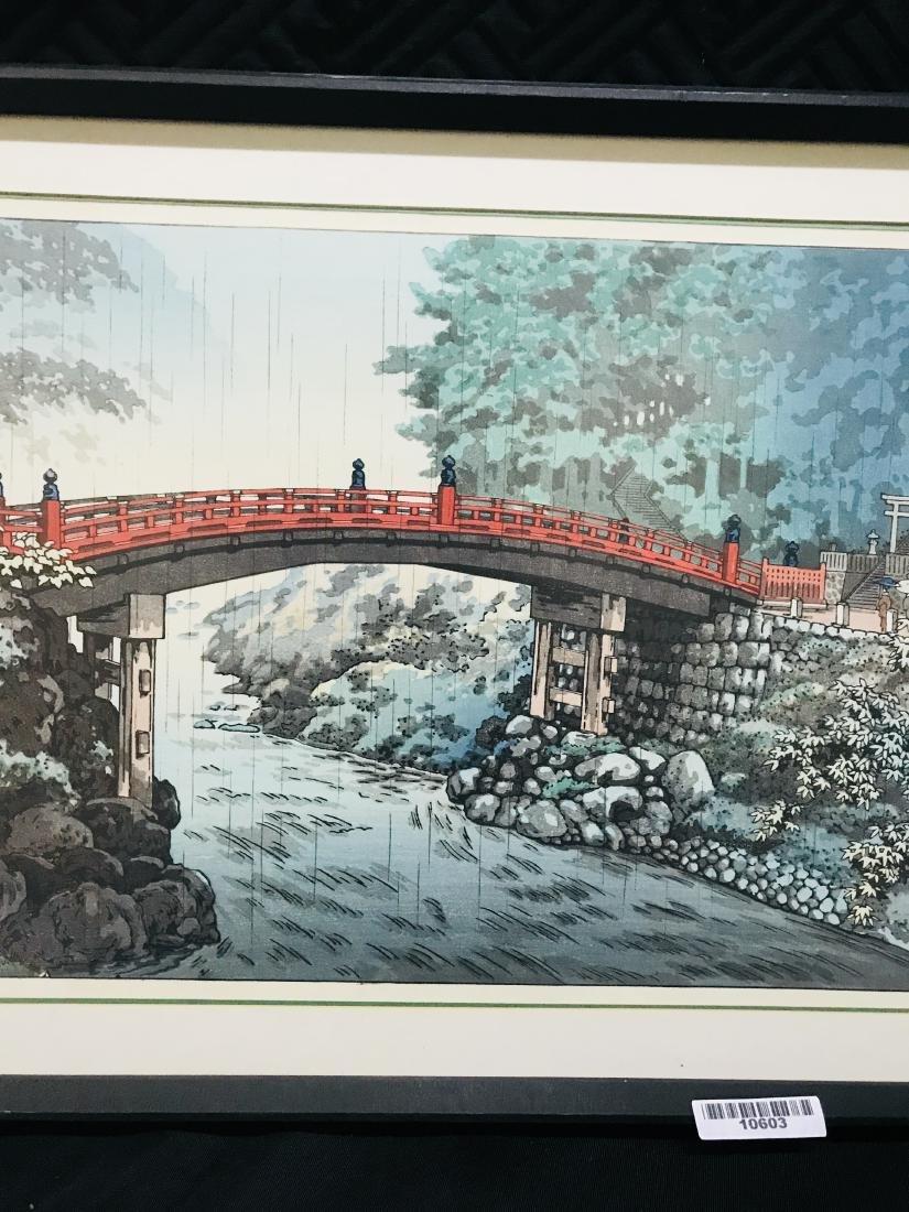 Signed Japanese Art Bridge over River in the Rain - 10