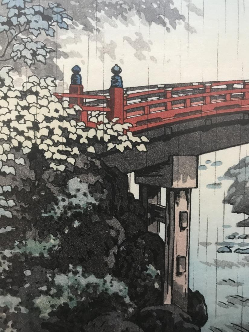 Signed Japanese Art Bridge over River in the Rain - 2