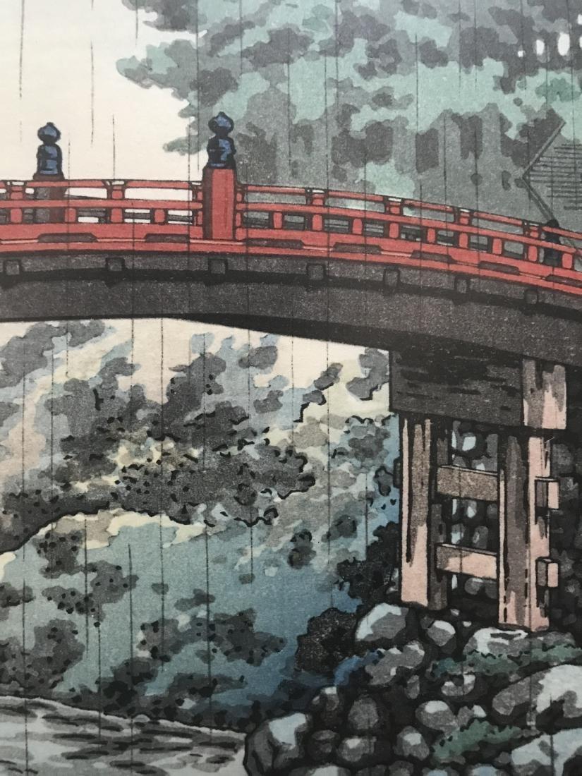 Signed Japanese Art Bridge over River in the Rain - 3