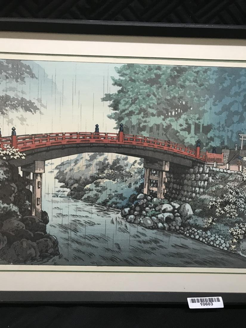 Signed Japanese Art Bridge over River in the Rain - 7