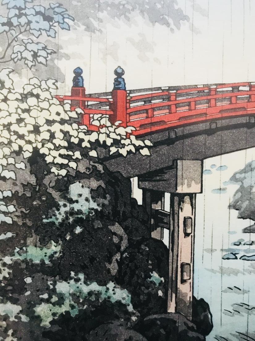 Signed Japanese Art Bridge over River in the Rain - 9
