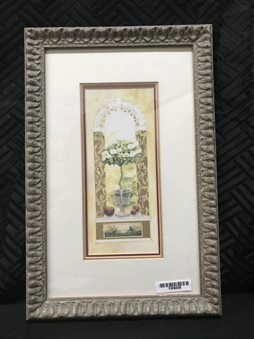 Nell Revel Signed Painting Fence Flowers and Pots