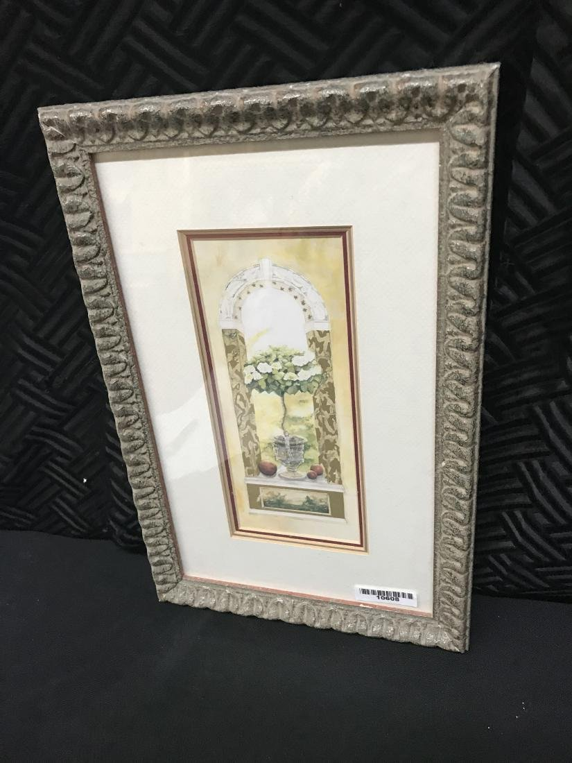 Nell Revel Signed Painting Fence Flowers and Pots - 2