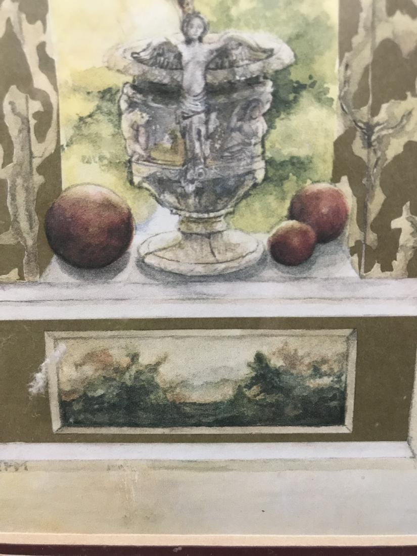 Nell Revel Signed Painting Fence Flowers and Pots - 3