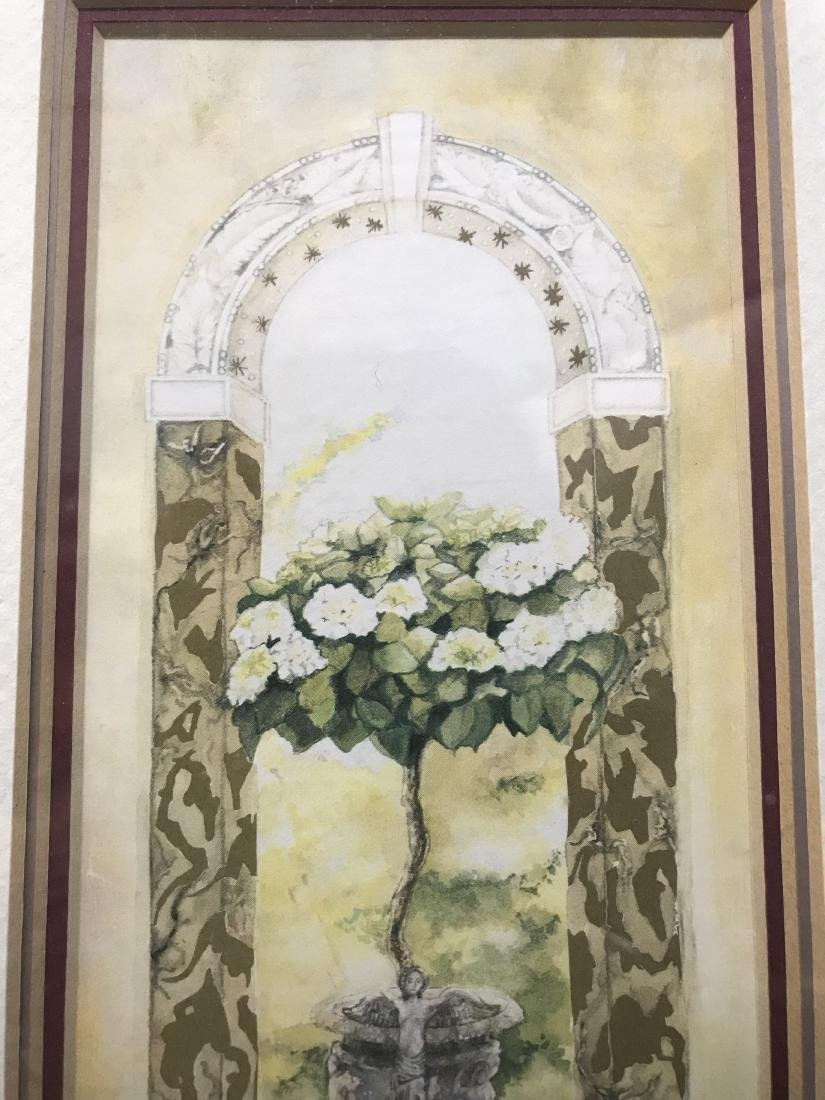 Nell Revel Signed Painting Fence Flowers and Pots - 4