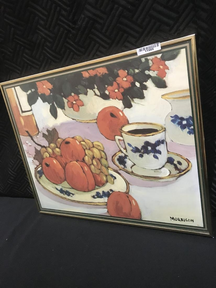 Signed Morrison Still Life.  Coffee Fruit Flowers - 2