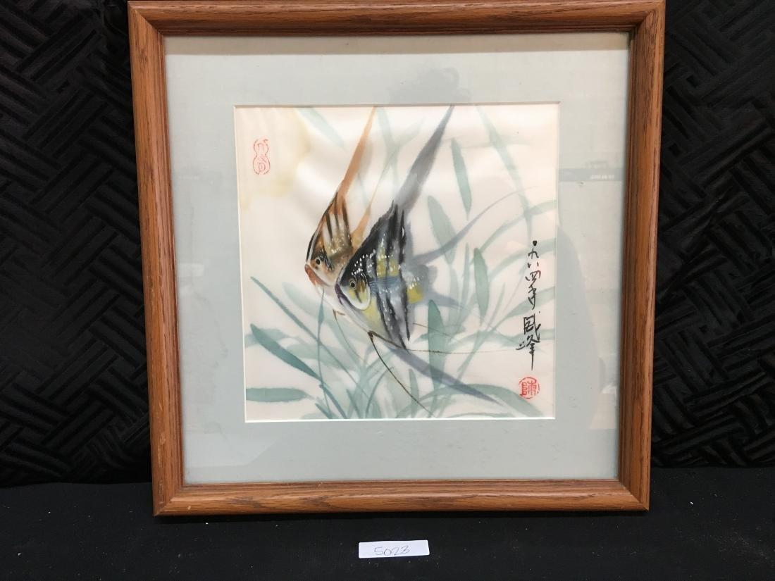 Original Signed Framed Chop Japanese Art Angelfish