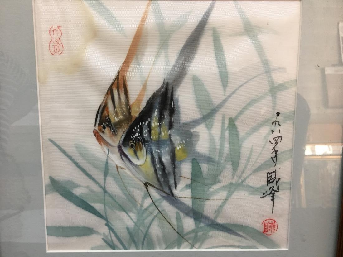 Original Signed Framed Chop Japanese Art Angelfish - 2