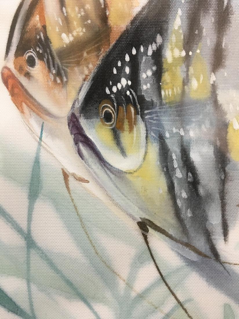 Original Signed Framed Chop Japanese Art Angelfish - 3