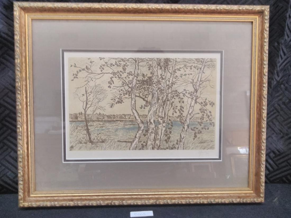 Japanese Woodblock Print Signed Birches and Water