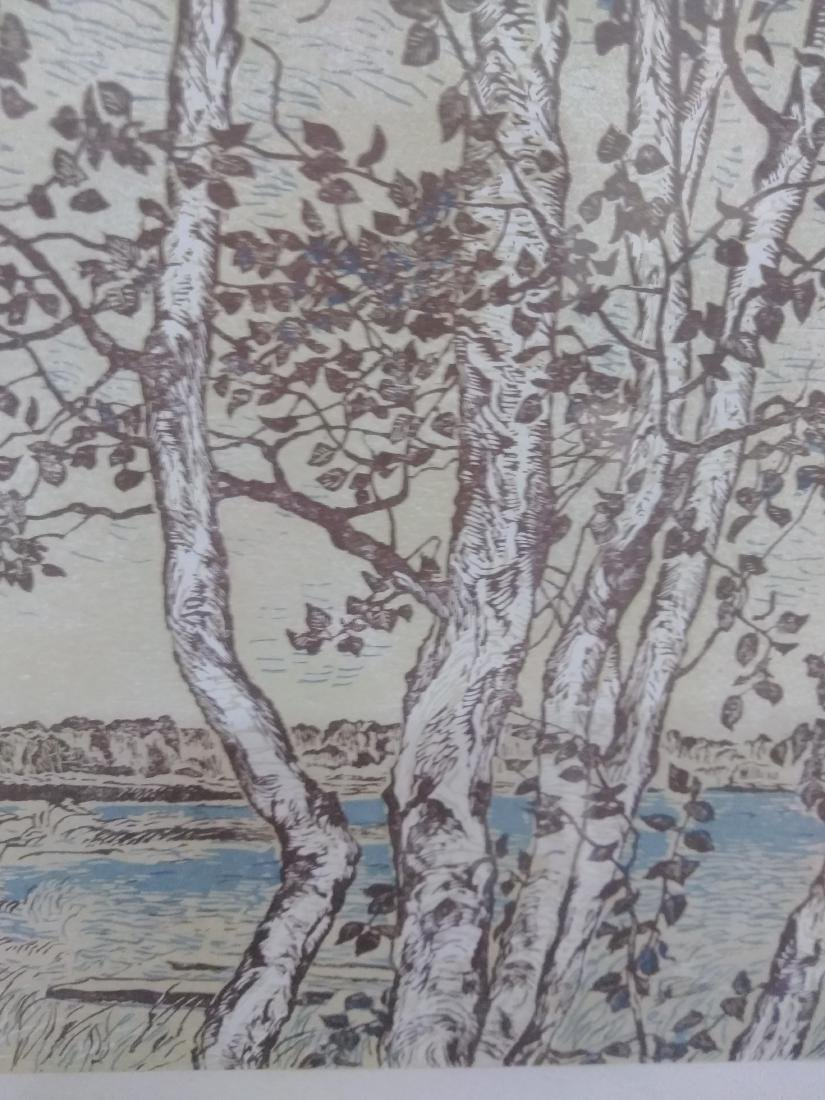 Japanese Woodblock Print Signed Birches and Water - 3