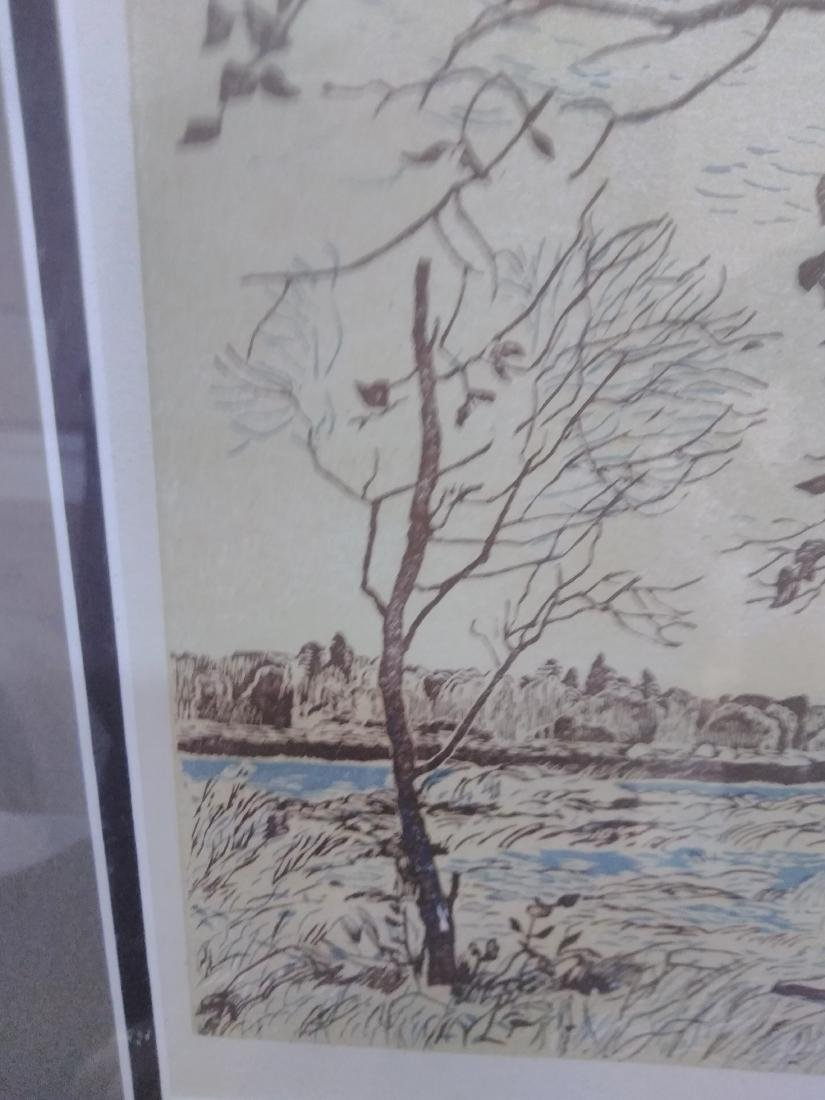 Japanese Woodblock Print Signed Birches and Water - 4