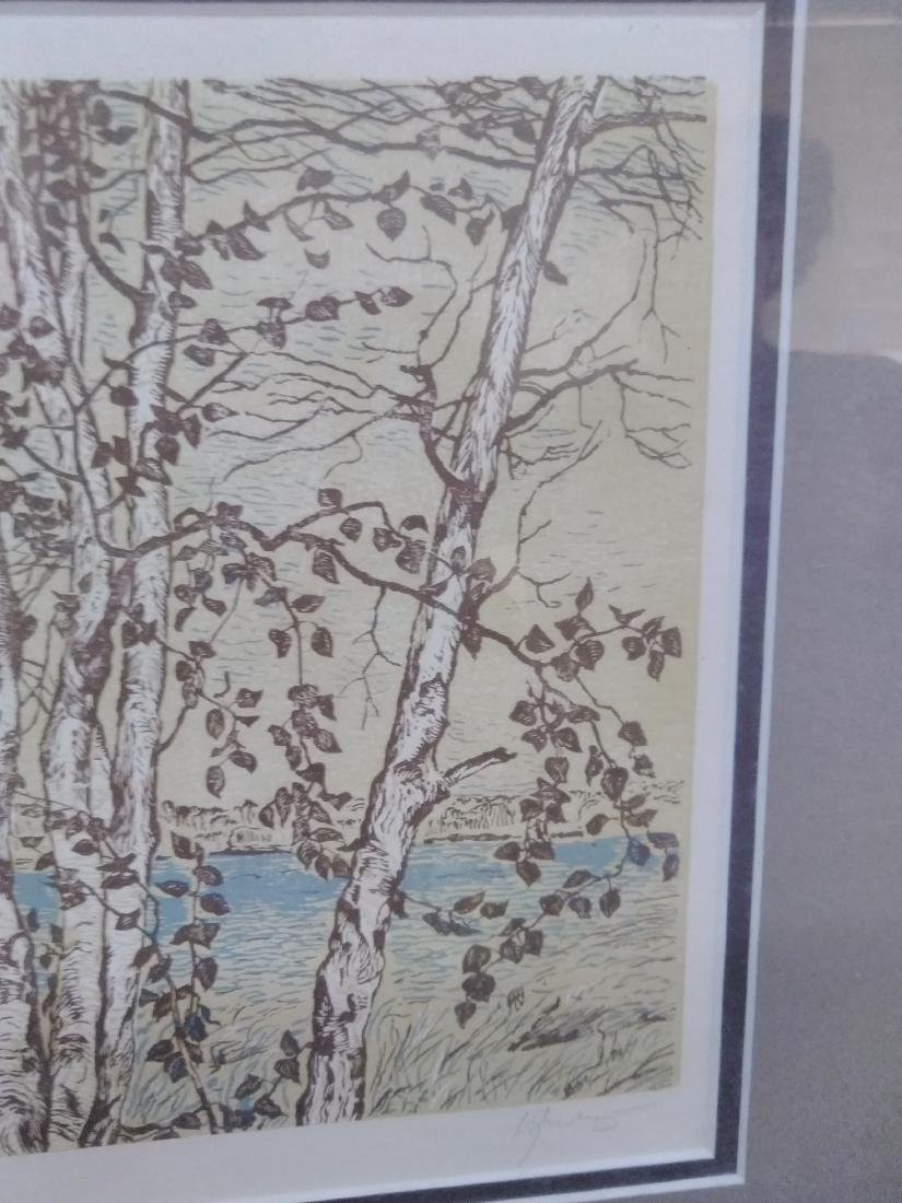 Japanese Woodblock Print Signed Birches and Water - 5