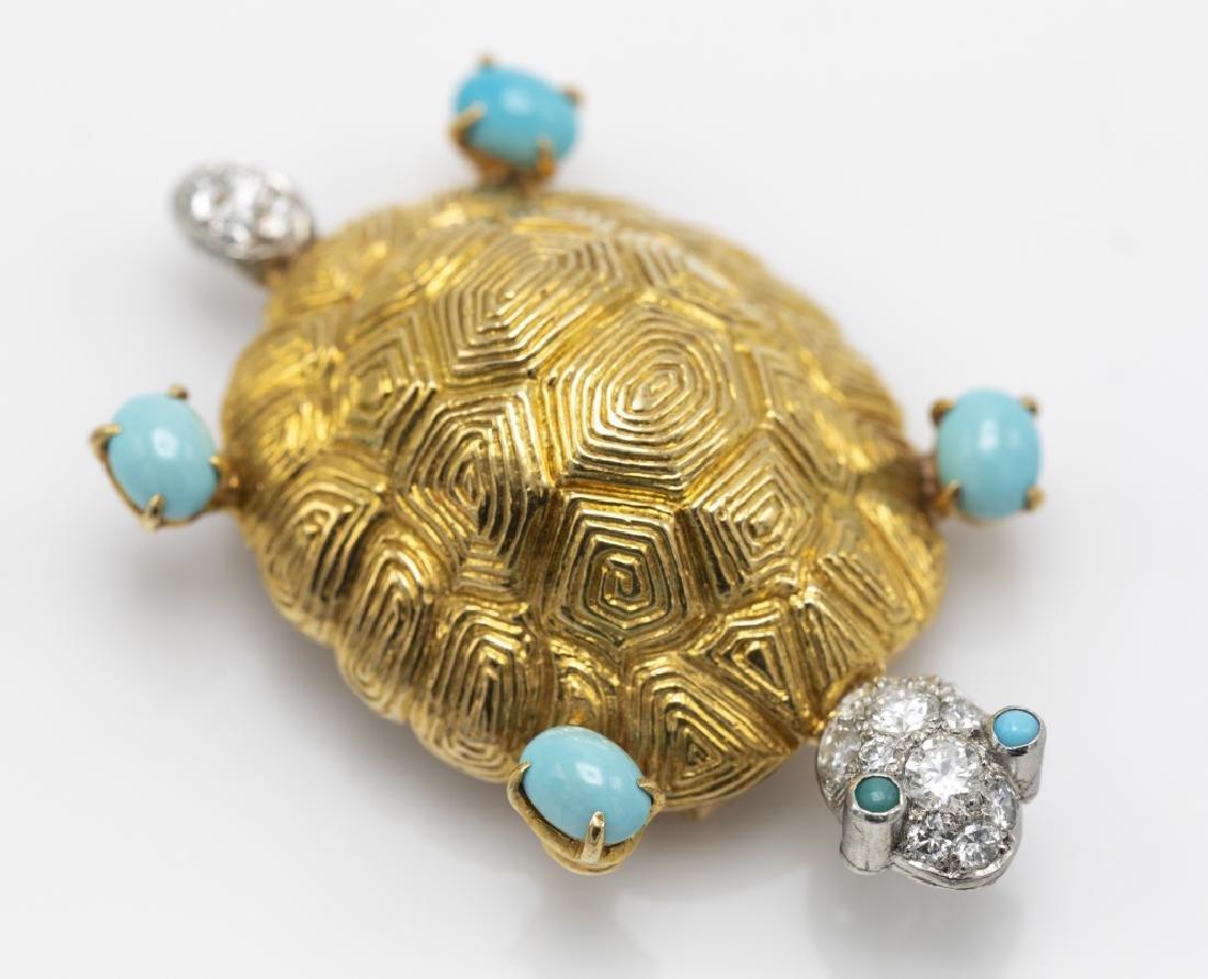 A Van Cleef & Arpels diamond, turquoise, 18k pin