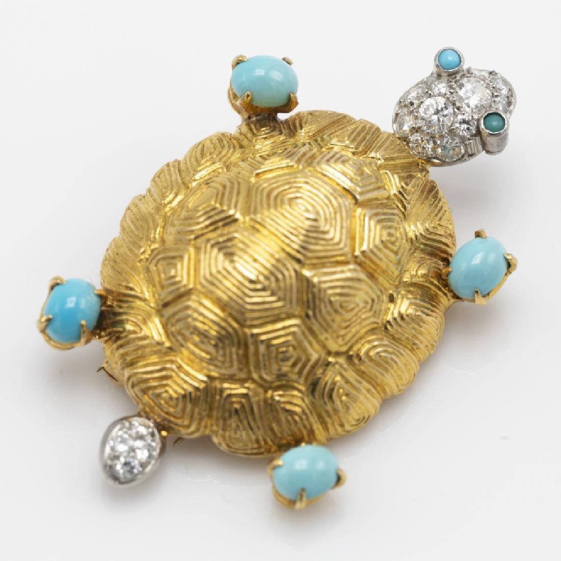 A Van Cleef & Arpels diamond, turquoise, 18k pin - 3