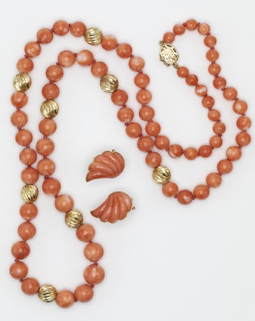 A collection of two coral, 14k jewelry items