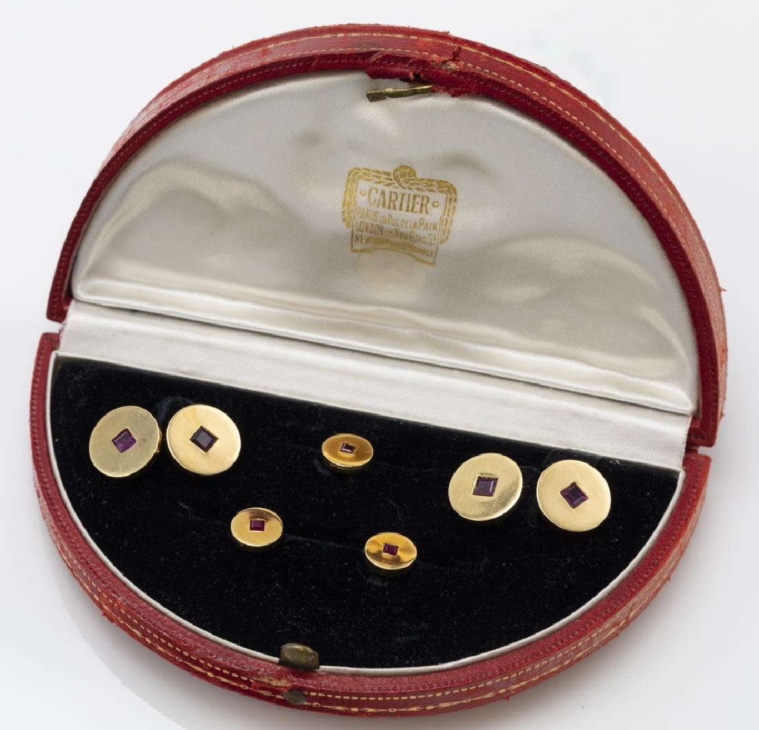 A Cartier Art Deco ruby, 18k gent's dress set