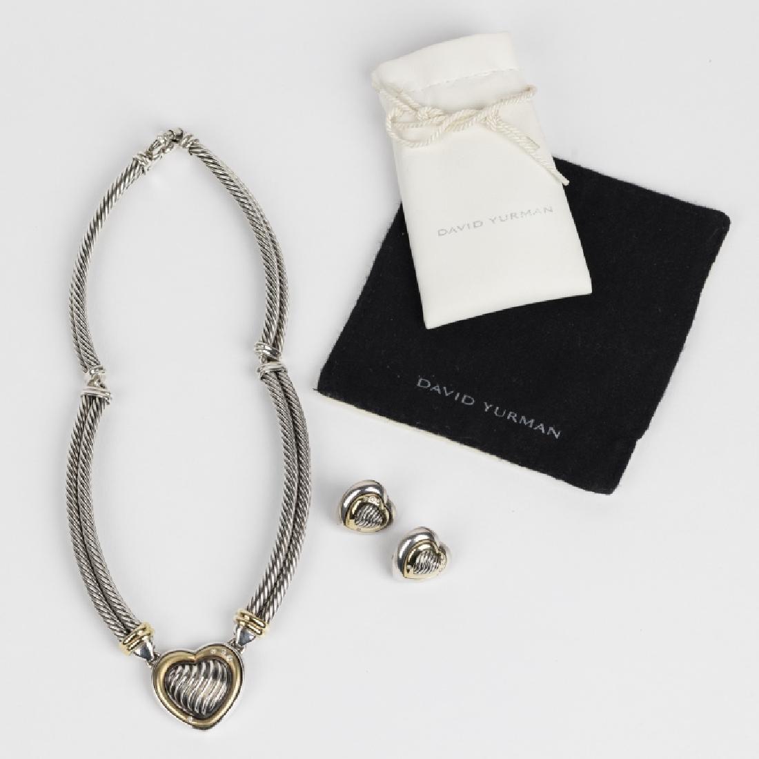 A David Yurman diamond, 18k, silver heart suite