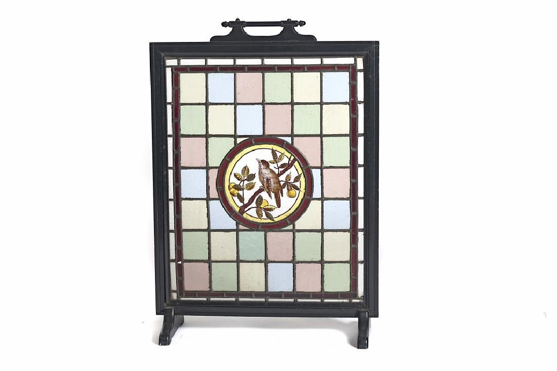 A Victorian leaded glass fire screen