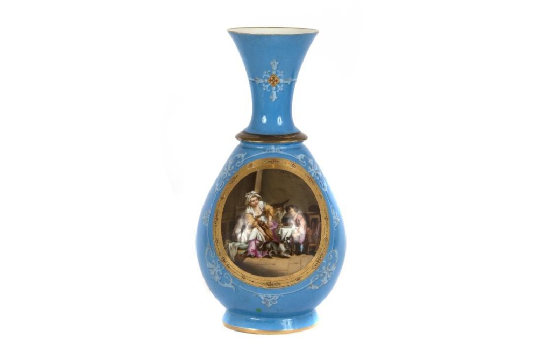 A Continental baluster form porcelain vase