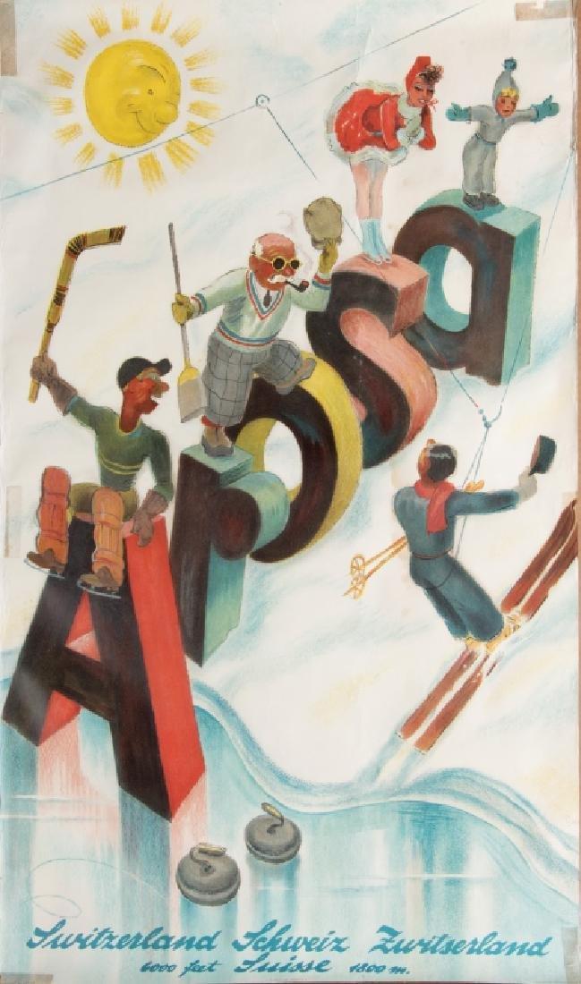 Three vintage skiing advertising posters