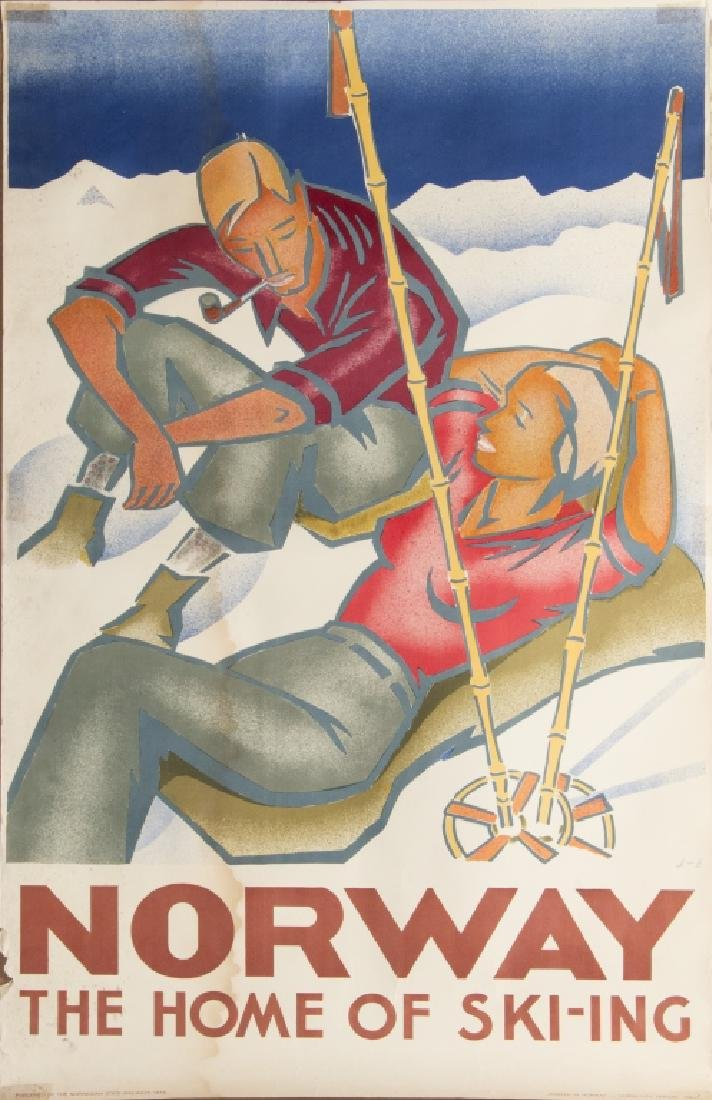 Three vintage skiing advertising posters - 2