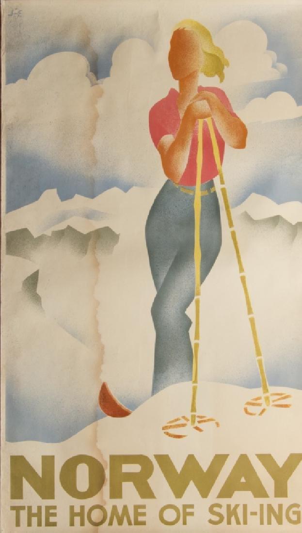 Three vintage skiing advertising posters - 3