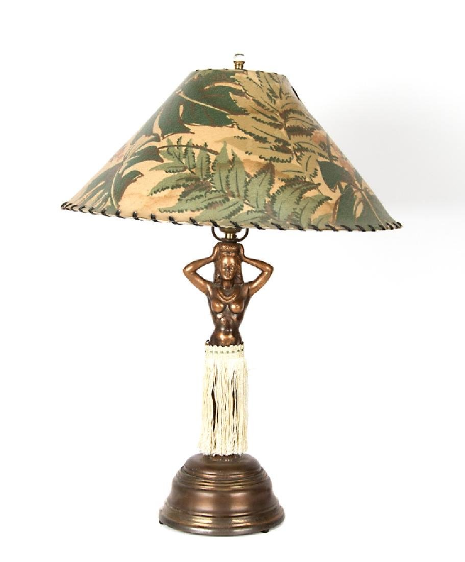 An animated Hula girl lamp
