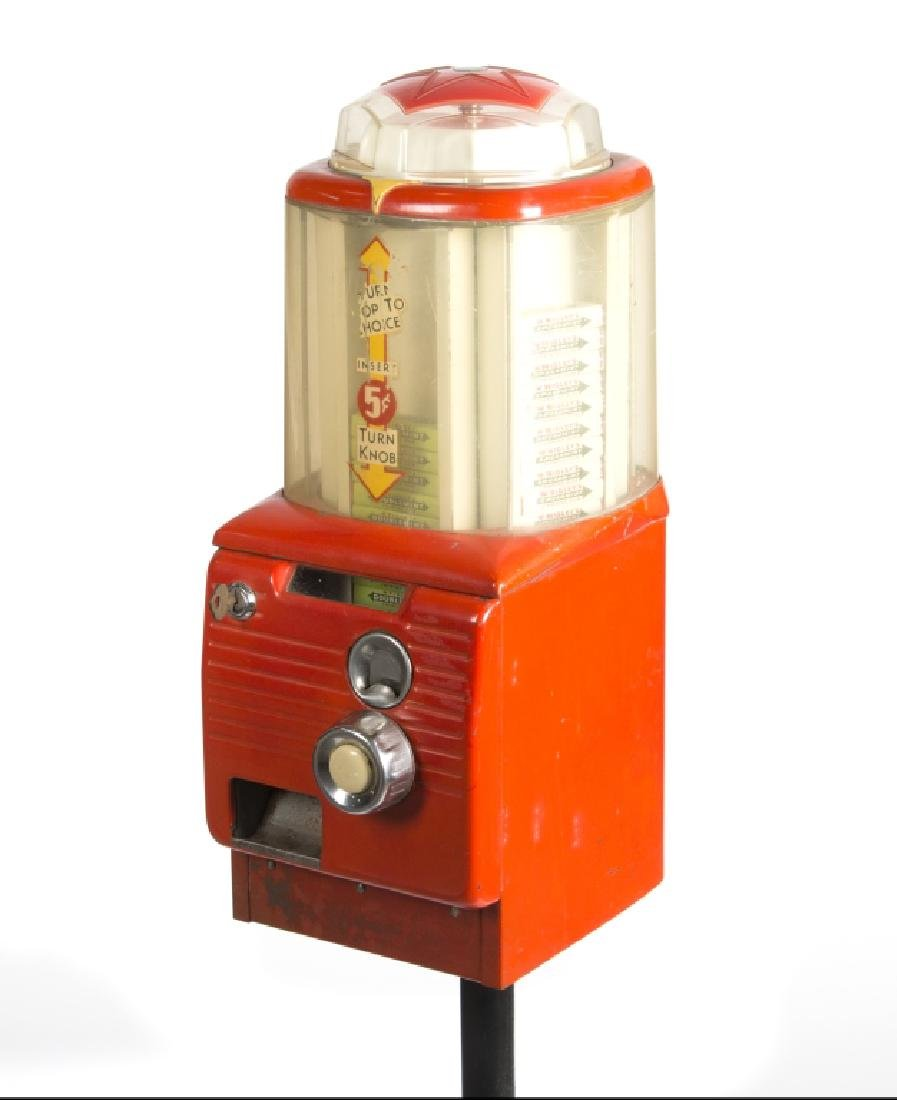 A vintage gum pack and gumball machine on stands - 2