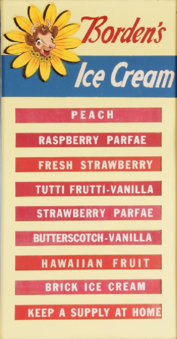 A vintage Borden's ice cream menu board