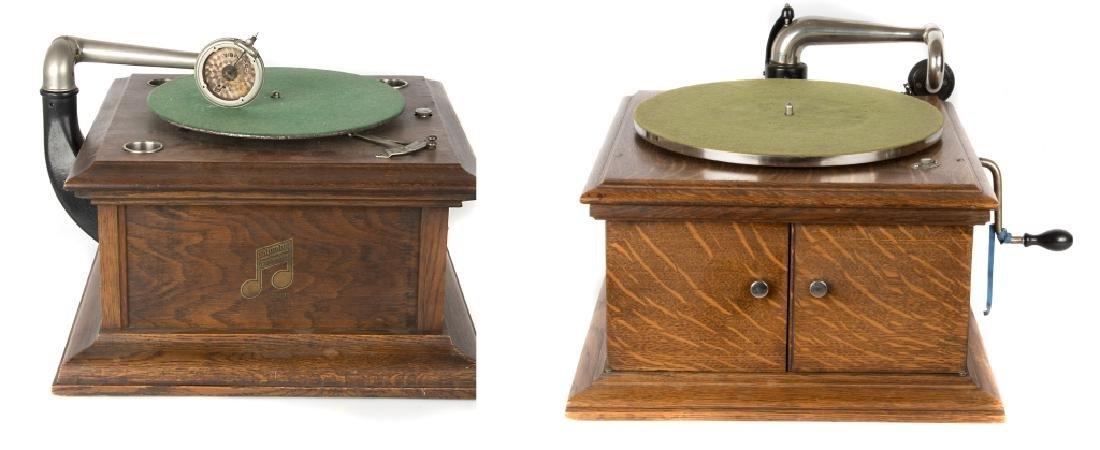 A Victor tabletop Victrola & Columbia Gramophone