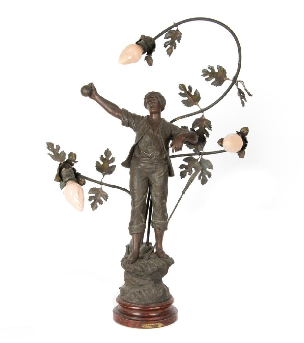A Mestais spelter figural lamp of 'The Haymaker'