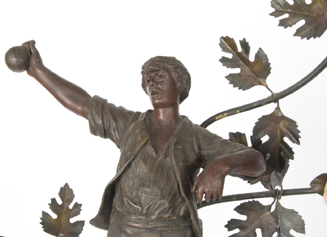 A Mestais spelter figural lamp of 'The Haymaker' - 3