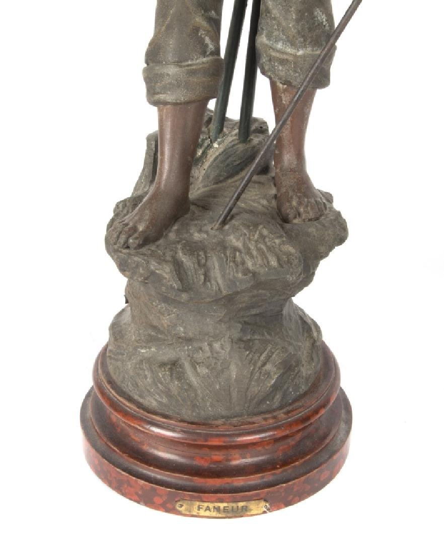 A Mestais spelter figural lamp of 'The Haymaker' - 4