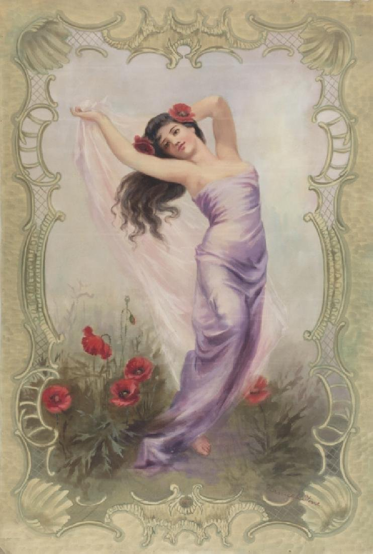 A Victorian painted canvas of a beauty