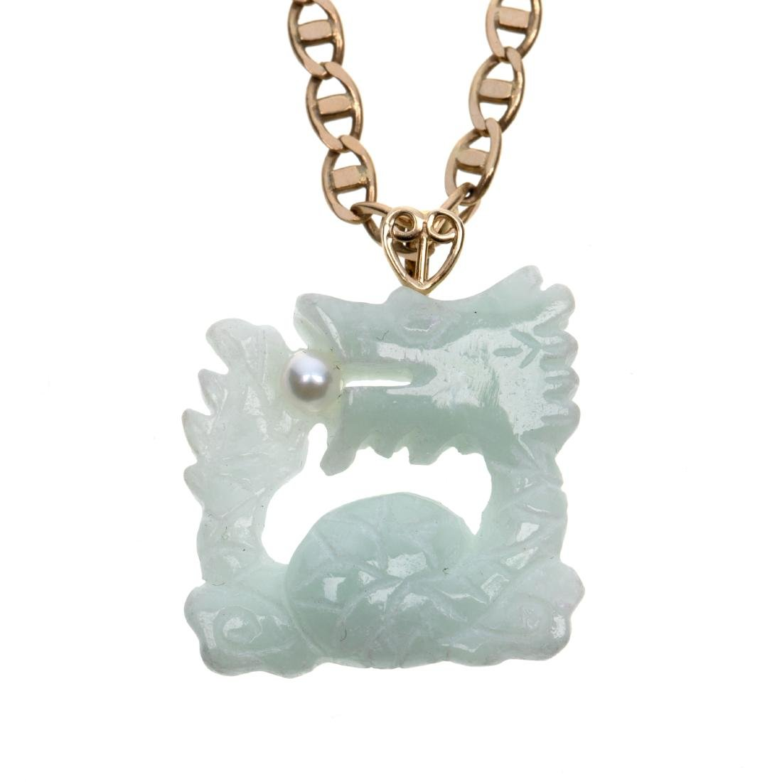 A jade, cultured pearl, 14k yellow gold necklace