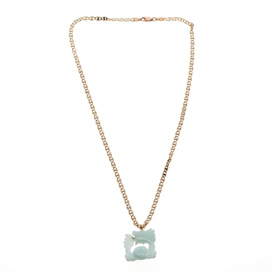 A jade, cultured pearl, 14k yellow gold necklace - 2