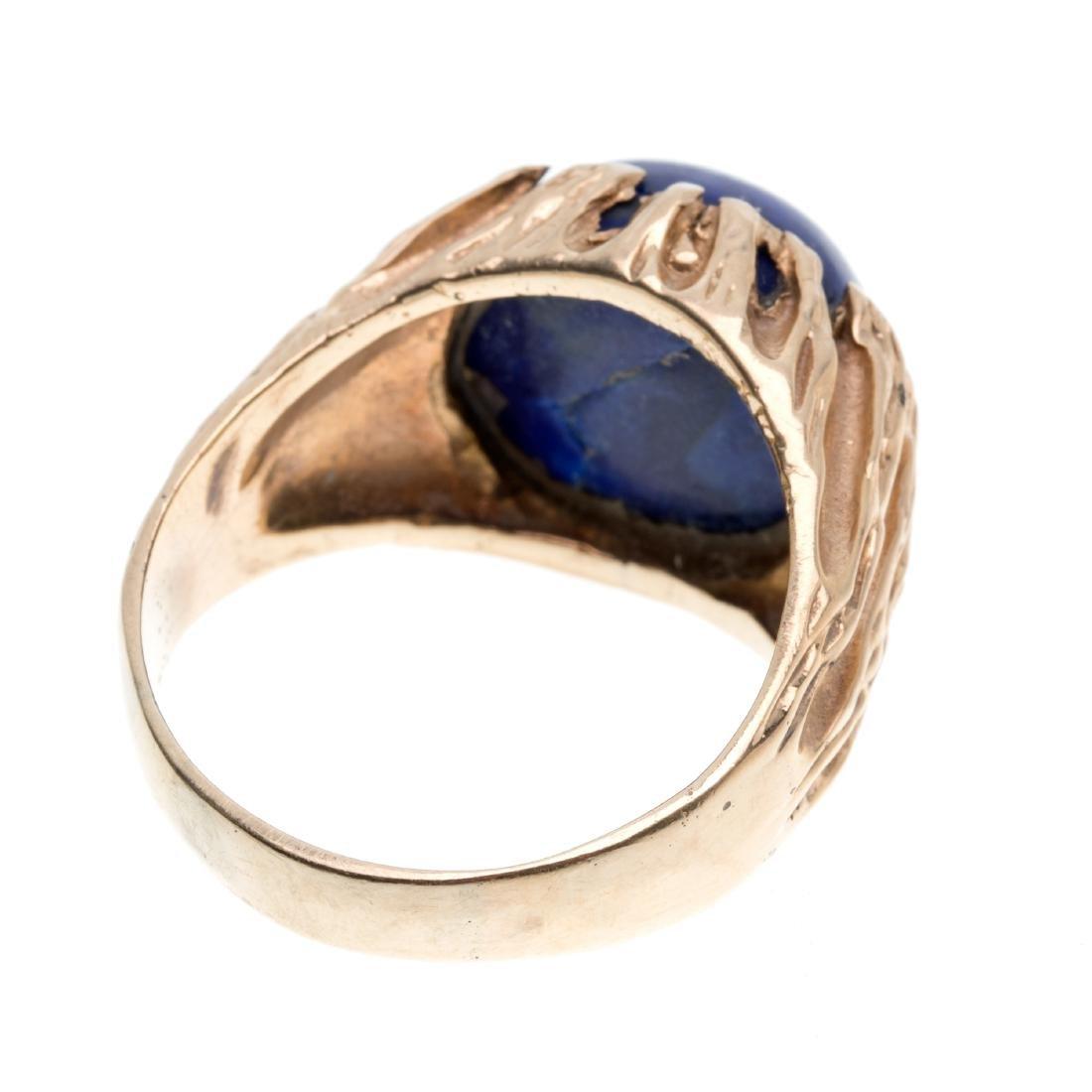 A gent's lapis lazuli, 14k ring - 2