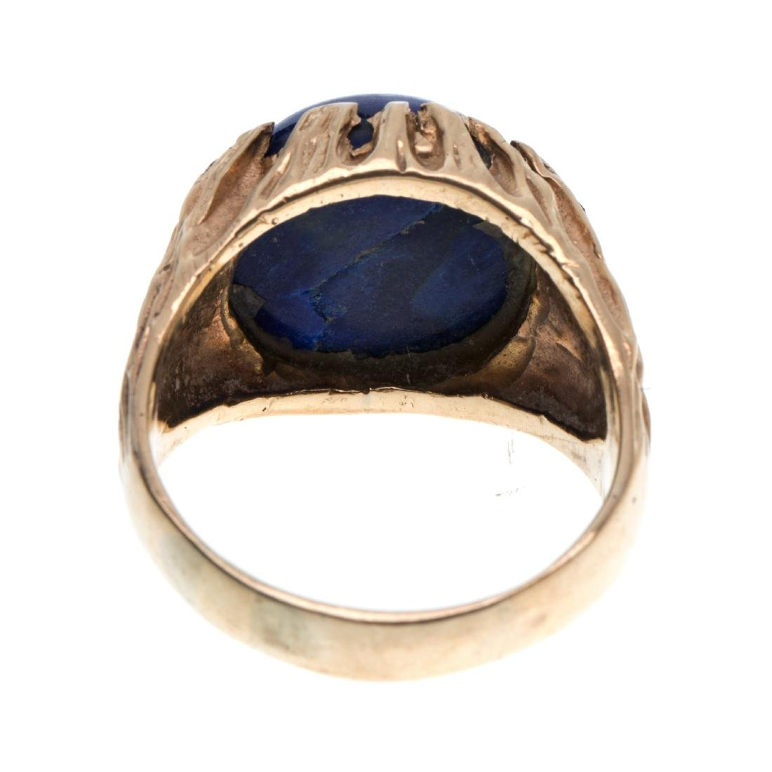 A gent's lapis lazuli, 14k ring - 3