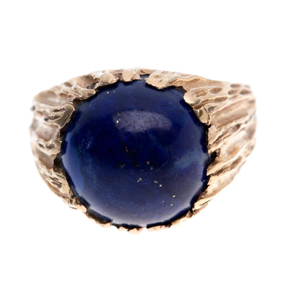 A gent's lapis lazuli, 14k ring - 4