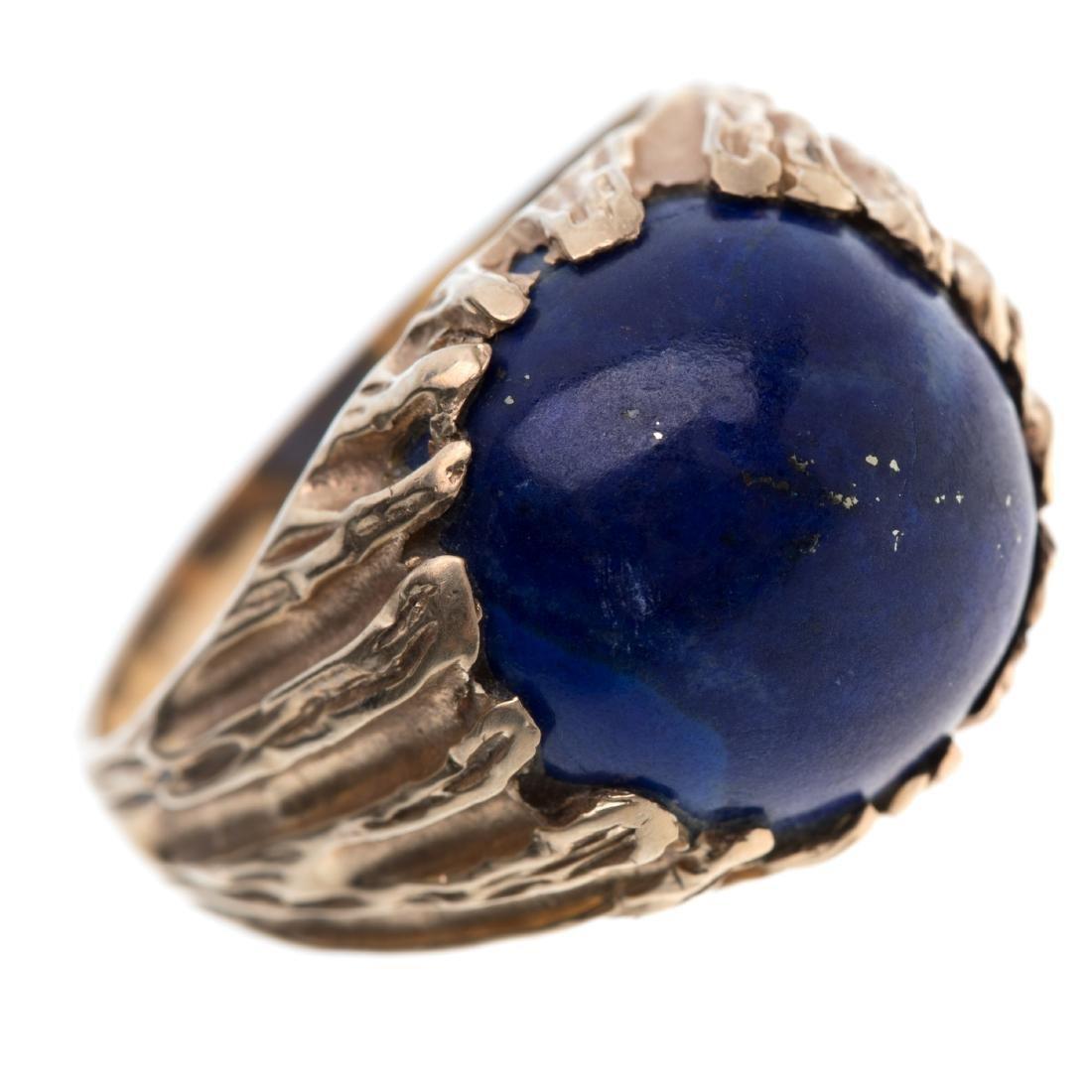 A gent's lapis lazuli, 14k ring - 5