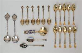 A group of gilt 800 standard silver coffee spoons