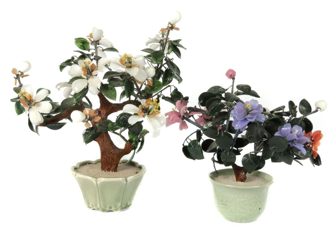 Two Chinese glass bonsai trees